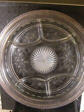 Vintage Webster STERLING & GLASS PLATTER Etched Glass  12 1/4""