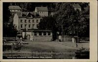 Wehlen sächsische Schweiz DDR Postkarte ~1950/60 Partie am Hotel Zum Dampfschiff