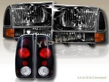 1999-2004 FORD F250/350 SUPER DUTY BLACK HEADLIGHTS & CORNER & BLACK TAIL LIGHTS