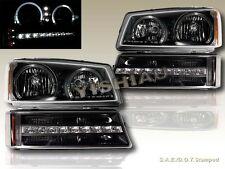 03-06 CHEVY SILVERADO/AVALANCHE TWIN HALO LED HEADLIGHTS + BLK LED BUMPER LIGHTS