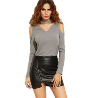Womens V Neck Blouse Off Shoulder Cut Out Long Sleeve Loose T Shirt Casual Tops