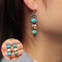 crystal des boucles d'oreilles en turquoise pierre naturelle crochet 925 silver