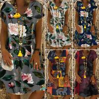 US STOCK Women Summer Holiday V Neck Mini A-Line Dress Loose Shirt Sundress Plus