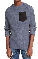 American Rag Mens Sweater Navy Blue Large L Marled Knit Pocket Crewneck $40 029