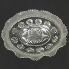 Bagley Glass Katherine Oval Bowl #3187 Swirling Flowers Frosted UK