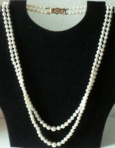 VINTAGE TWO ROW GRADUATED CULTURED PEARL NECKLESS WITH 9ct GOLD CLASP - HM 1995