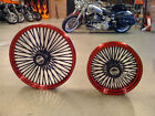 DNA CANDY RED MAMMOTH FAT 52 SPOKE WHEELS 18x3.5 & 18x8.5 250 TIRE HARLEY