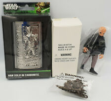 STAR WARS : HAN SOLO IN CARBONITE BUSINESS CARD HOLDER & BARQUIN D'AN FIGURE
