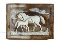 Vintage Western Jewelry Box Mahogany Wood Horses Stone Incolay Hinged Lid 🐴💍