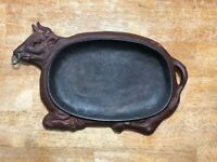 Vintage Cast Iron Steer Bull Steak Serving Plate Japan Western Decor