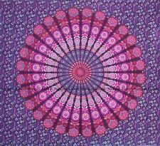 Indian peacock mandala cotton tapestry bohemian king size wall hanging bedspread