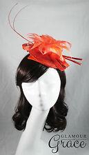 Ayla orange coral fascinator headpiece hat wedding races Melbourne Cup feathers