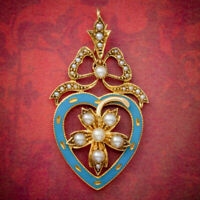 ANTIQUE EDWARDIAN PEARL HEART PENDANT BROOCH 15CT GOLD BLUE ENAMEL CIRCA 1905
