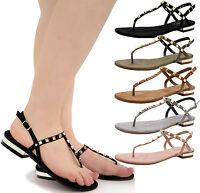 Ladies Womens Flat Ankle Strap Studs Flip Flop T-Bar Toe Post Sandals Shoes Size