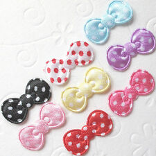 """150pc x 7/8"""" Assorted Padded Polka Dot Satin Bow Appliques for Hello Kitty ST613"""