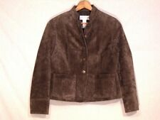 Liz Claiborne moss green lined suede leather jacket / women MP / nice / b46