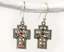NEW Boho cross earrings, dyed agate inlays in solid genuine 925 Sterling Silver