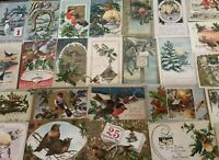 ~Estate~Lot of 25~CHRISTMAS & NEW YEAR'S~BIRDS~ Antique~BIRD Postcards-a624