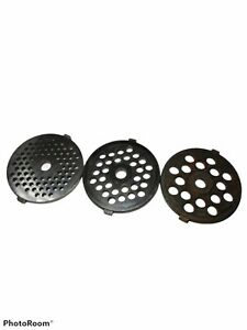 3 pc. SET Meat Grinder Plate Disc Die Meat Cutting Plate for Waring Pro MG100
