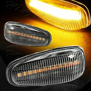 For Mercedes CLK SLK Class Clear Lens Amber LED Turn Signal Side Marker Lights