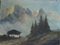 Jean Coune 1900 Düsseldorf Alpi Dolomiti Dipinto a Olio Antico Firmato Beschädig