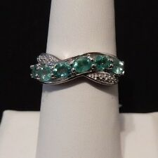 Emerald Sterling Silver Ring  Size 7 0.95ct Genuine