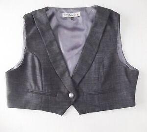 Ladies waistcoat Size 14 Grey Cropped Urban Behaviour Collar Lined Good Xmas N2