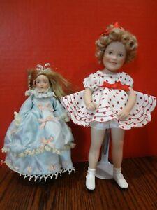 """Shirley Temple 8"""" Porcelain Doll Elke Hutchens + 6"""" Porcelain Doll ~FAST S/H~"""