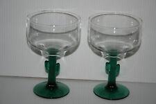 Set 2 Libbey Teal Green Cactus Juniper Stemmed Margarita Wine Glass 12 ~ 16 Oz