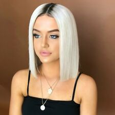 New Hot Women Synthetic Black White Gradient Short Bob Hair Ombre Straight Wigs