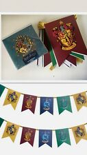 HARRY POTTER HOGWARTS HOUSE BUNTING GARLAND DECORATIONS 15 PACK XMAS CARDS