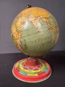 J. Chein & Co. 1950s Tin Litho  Old World Globe with Months and Zodiac Signs