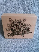 Wheelbarrow of Flowers-Rubber Stamp -New