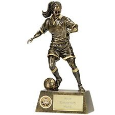 A1201B  RESIN FEMALE FOOTBALL TROPHY SIZE 19 CM FREE ENGRAVING