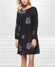 Cutout Shift Dress Size UK 10 Ladies Black & Blue Floral Long Sleeved BNWT #B-27