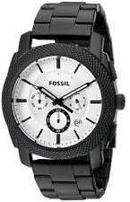 New Fossil Men Machine Chronograph Steel Black 24 Hours Watch 46mm FS5092 $165