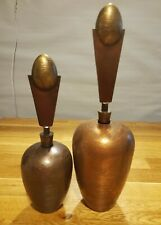 New listing Pair of Unique Vintage Metal Decanters with Funky Shape and Texture