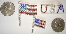 Usa Pin Broaches at $5 each =Pn3 3 Patriotic Genuine Austrian Crystal Usa Flag &