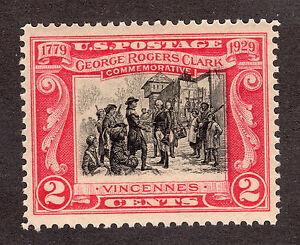 US # 651 (1929) 2c, MNH/OGnh -Grade: VF  EFO: Black Color Shift upward.