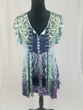 One World women S printed tunic short sleeve V-Neck tussles blouse tunic