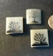 3  Vintage Czech Art DECO   figural   Glass   Jewelry pieces  CABOCHONS   TREES