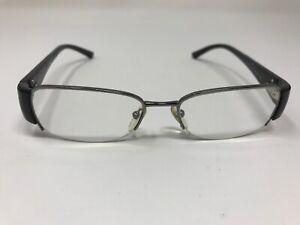 Prada Eyeglasses Frame VPR 63I 50-17-135 5AV-1O1 Half Rimless Black/Silver XQ89