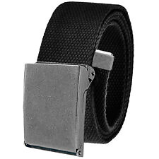 Men's Outdoor Casual Golf Belt Antique Silver Buckle Adjustable Canvas Webbing