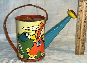 ANTIQUE OHIO ART FERN BISSEL PEAT BUNNIES TIN LITHO WATERING CAN TOY BRYAN OH