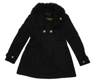 Miss Selfridge Womens Size 8 Wool Blend Black Faux Fur Trim Peacoat