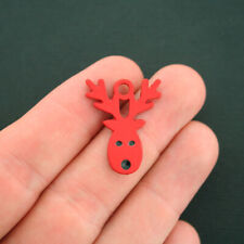 2 Reindeer Charms Red Enamel Bright and Fun - E259