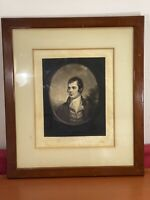 "Antique Fine Art Mezzotint Etching  ROBERT BURNS framed original  31"" x 27"""