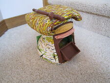Vintage Fisher Price Woodsey Squirrel Family log wood tree store house woodsy