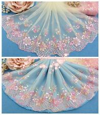 "8""*1Y Embroidered Tulle Lace Trim~Warm Cream+Pink~Little Princess' Wardrobe~"