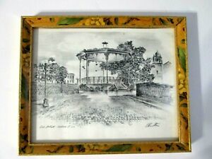 OLD PLAZA - OLVERA ST. L.A. Print / Etching by Alec Stern Framed Signed